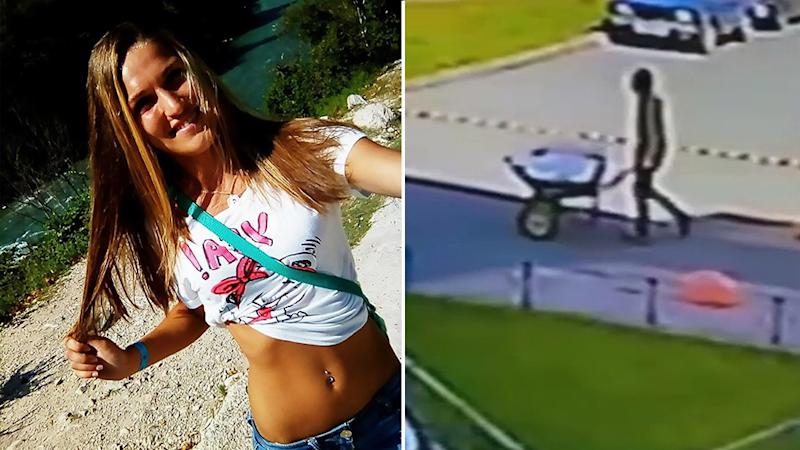 Left, is the unnamed victim. Right, is footage of a man pushing a wheelbarrow. Source: CEN/Australscope