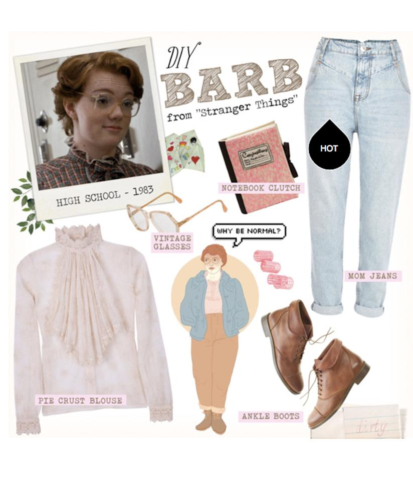 """<p>Let the other girls be Eleven — you'll knock'em dead as the dorky, yet somehow badass<a rel=""""nofollow"""" href=""""http://www.polyvore.com/diy_halloween_costume_barb_from/set?id=209592538"""">Barb Holland</a>, who may have met her untimely end, but sure looked amazing doing it. This one's all about those mom jeans. </p>"""