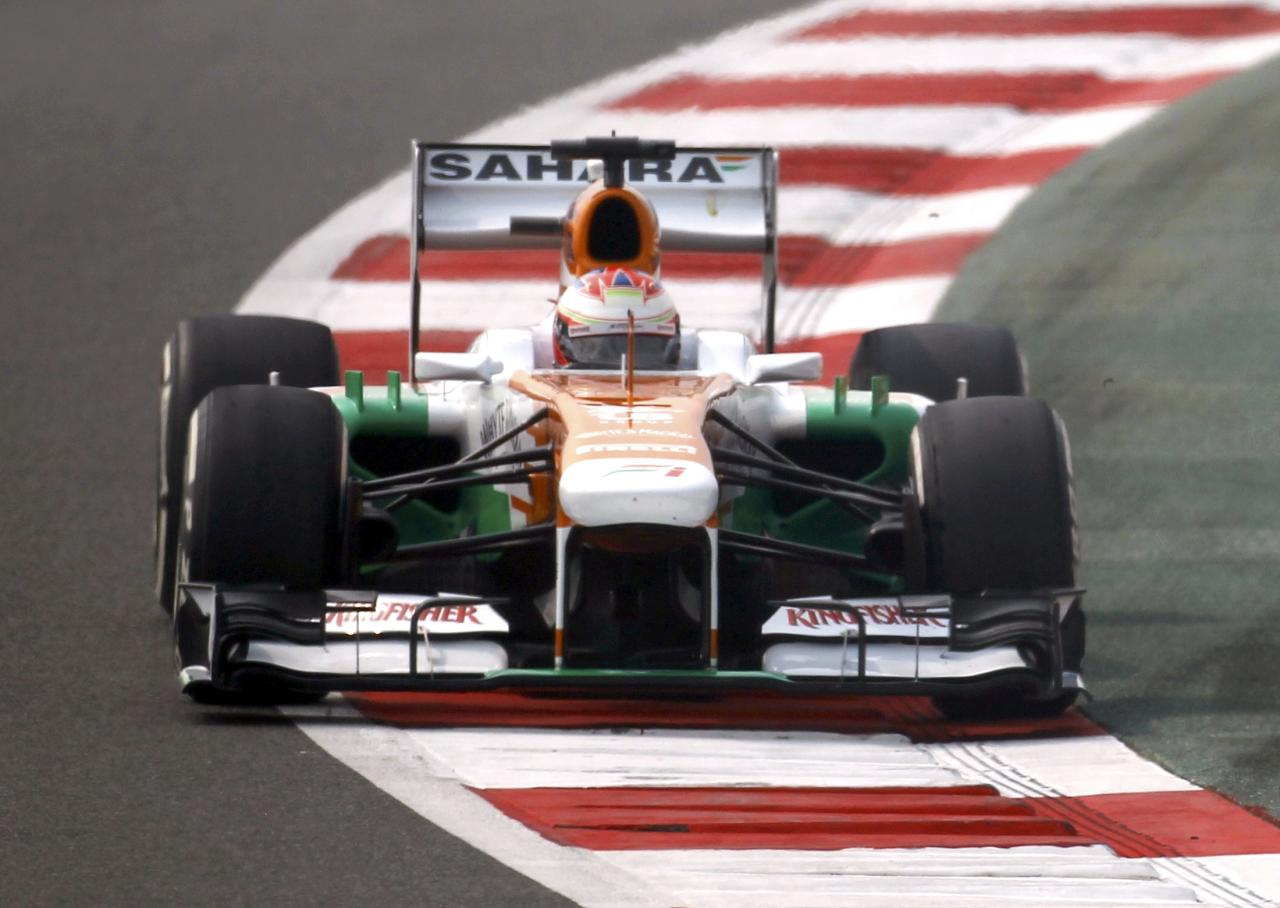 Force India Formula One driver Paul di Resta of Britain drives during the third practice session of the Indian F1 Grand Prix at the Buddh International Circuit in Greater Noida, on the outskirts of New Delhi, October 26, 2013. REUTERS/Adnan Abidi (INDIA - Tags: SPORT MOTORSPORT F1)