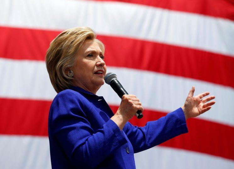 U.S. Democratic presidential candidate Hillary Clinton gives a speech. (Photo: Mike Blake/Reuters)