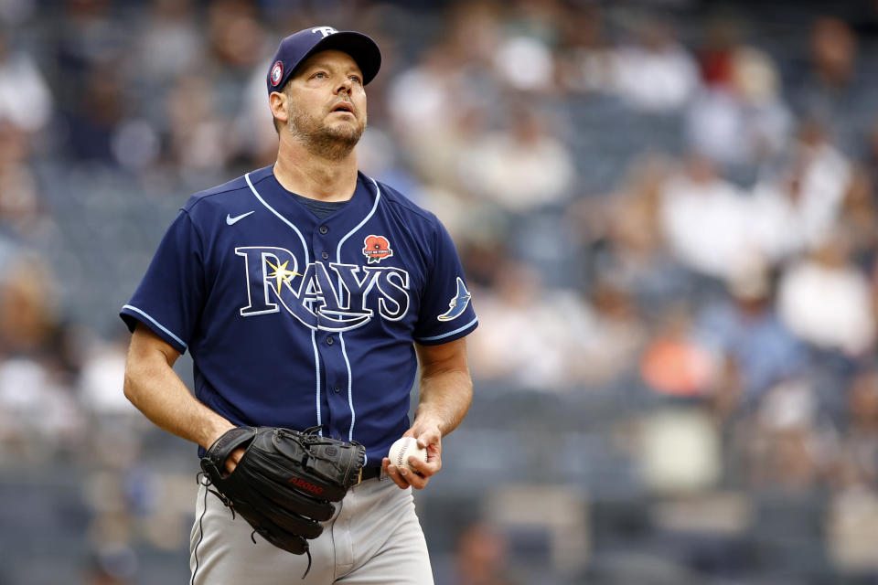 Tampa Bay Rays starting pitcher Rich Hill reacts during the fourth inning of a baseball game against the New York Yankees on Monday, May 31, 2021, in New York. (AP Photo/Adam Hunger)