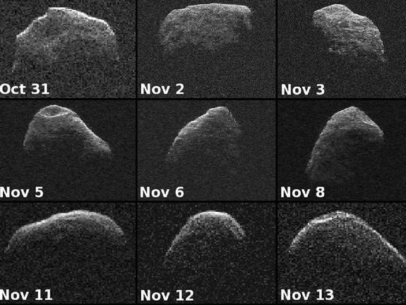 Nine new radar images of near-Earth asteroid 2007 PA8 were obtained between Oct. 31 and Nov. 13, 2012, with data collected by NASA's 230-foot-wide (70-meter) Deep Space Network antenna at Goldstone, Calif.