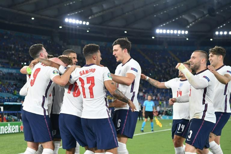 England players celebrate after scoring in their crushing Euro 2020 quarter-final win over Ukraine in Rome