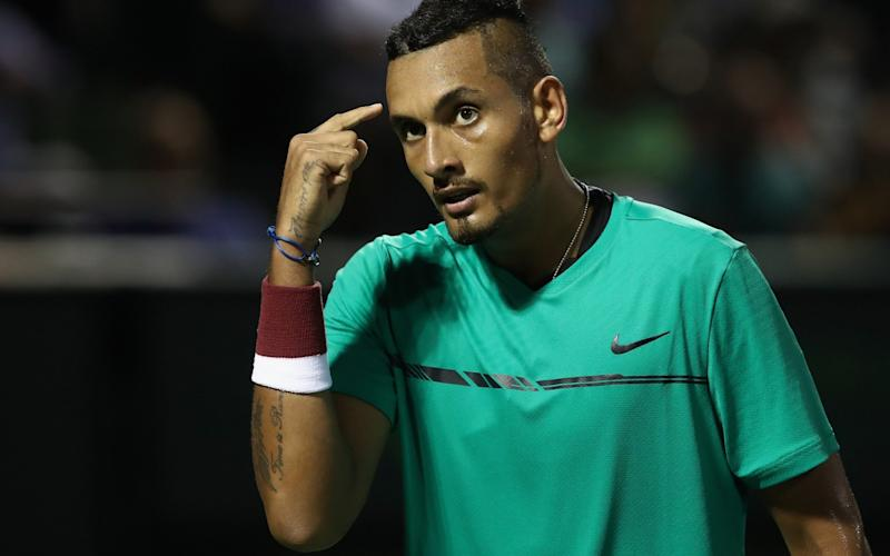 Nick Kyrgios largely kept his cool against Roger Federer at the Miami Open - Credit: Getty