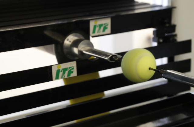 In this photo taken Friday June, 28, 2019, a tennis ball is rotated in a wind tunnel, showing how the ball moves in the air at different speeds, as it is tested at the International Tennis Federation (ITF) lab in Roehampton, near Wimbledon south west London. Based for about 20 years in a three-room area on what used to be a pair of squash courts in Roehampton, the ITF tech lab is filled with more than $1 million worth of machines that help make sure rules are followed and parameters are met. (AP Photo/Alastair Grant)