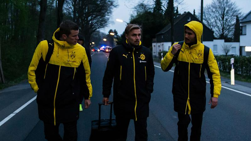 Dortmund players after explosion
