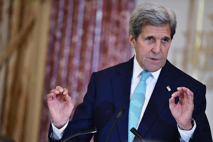US Secretary of State John Kerry speaks during the release of the 2016 Trafficking in Persons Report on June 30, 2016 at the State Department in Washington, DC (AFP Photo/Mandel Ngan)