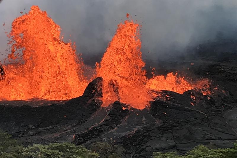 Lava surges out of Kilauea volcano in Hawaii