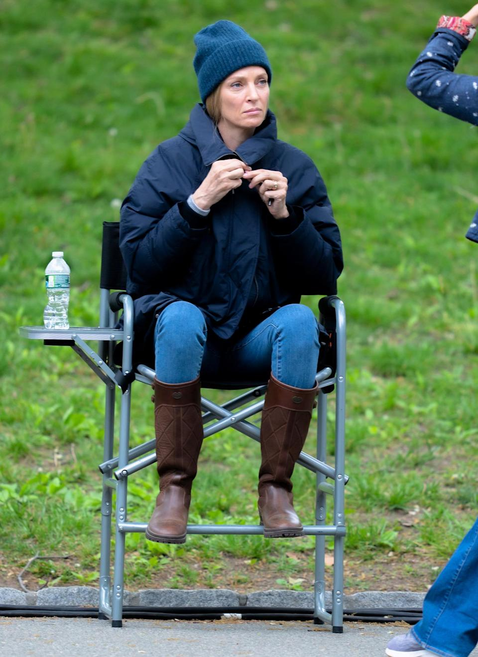 <p>Uma Thurman bundles up while filming a new TV series in N.Y.C.'s Central Park on Monday. </p>