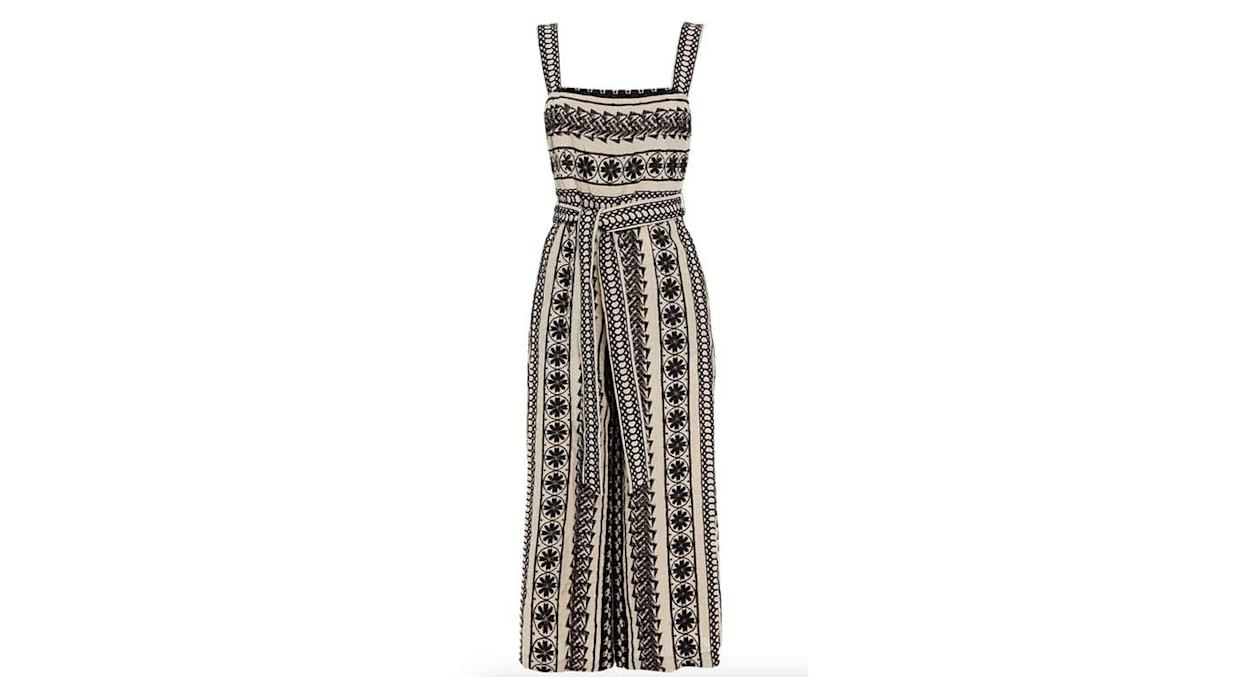 ALICE + OLIVIA Cropped embroidered linen jumpsuit