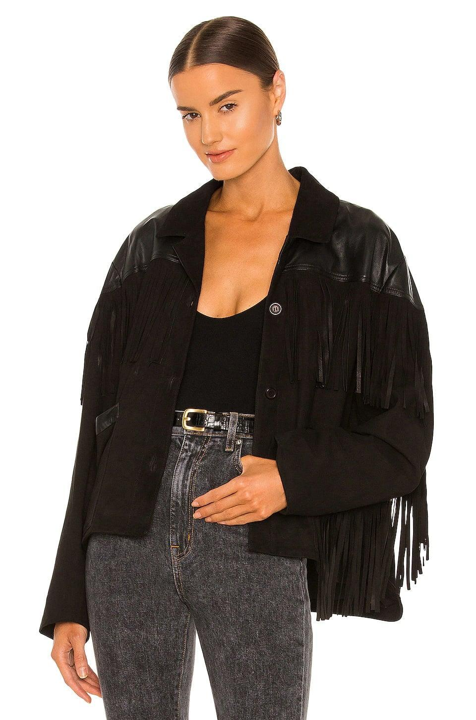 <p>This <span>Lamarque Madeline Jacket</span> ($675) is so much fun. We're obsessed with the fringe, and the black makes it more appropriate for a night out.</p>