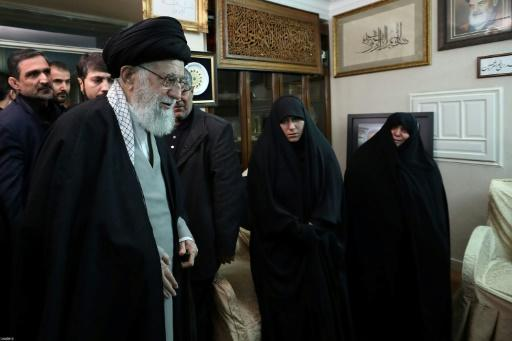 Iran's supreme leader Ayatollah Ali Khamenei visits the family of Revolutionary Guards commander Major General Qasem Soleimani, killed in a US air strike in Baghdad on Friday, to offer his condolences
