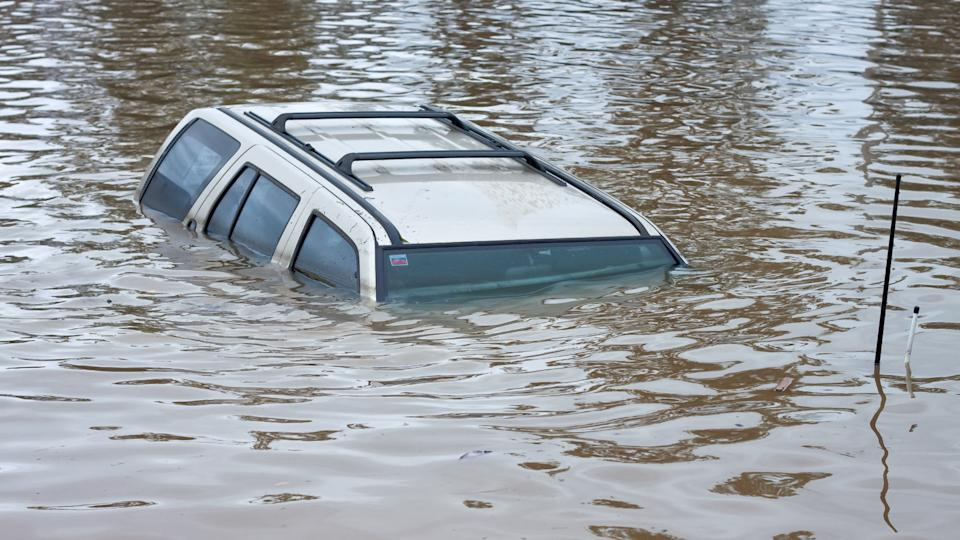 flooded car under water