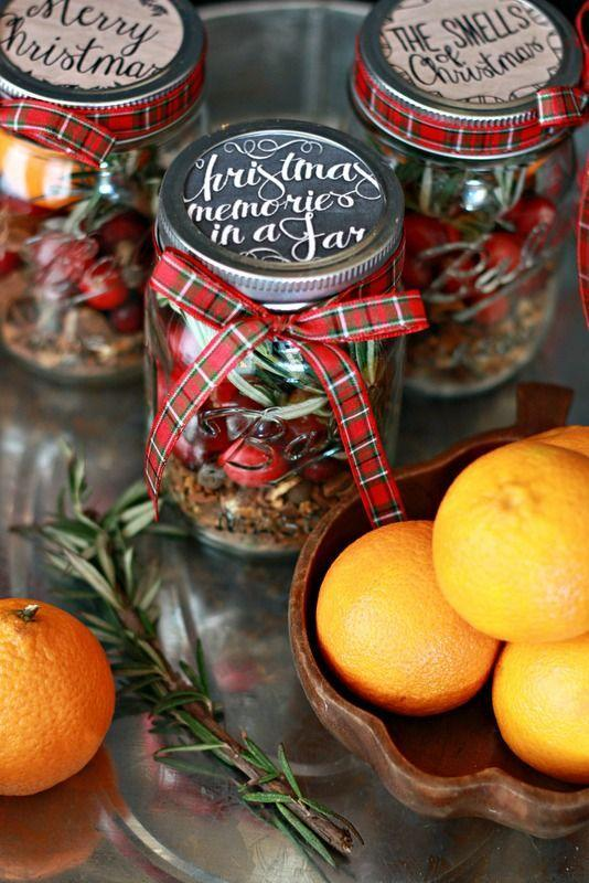 """<p>These jars—filled with <a href=""""https://www.countryliving.com/diy-crafts/g2851/how-to-make-your-home-smell-like-christmas/"""" rel=""""nofollow noopener"""" target=""""_blank"""" data-ylk=""""slk:quintessential Christmas scents"""" class=""""link rapid-noclick-resp"""">quintessential Christmas scents</a>, like rosemary, cranberry, and mulling spices—are the perfect gift for your friend that wishes Christmas lasted all year. </p><p><strong>Get the tutorial at <a href=""""http://www.nestofposies-blog.com/2014/11/christmas-jar-mulling-spices/"""" rel=""""nofollow noopener"""" target=""""_blank"""" data-ylk=""""slk:Nest of Posies"""" class=""""link rapid-noclick-resp"""">Nest of Posies</a>.</strong></p><p><a class=""""link rapid-noclick-resp"""" href=""""https://www.amazon.com/Morex-Ribbon-Festival-Fabric-50-Yard/dp/B00A23JZJ2?tag=syn-yahoo-20&ascsubtag=%5Bartid%7C10050.g.2132%5Bsrc%7Cyahoo-us"""" rel=""""nofollow noopener"""" target=""""_blank"""" data-ylk=""""slk:SHOP PLAID RIBBON"""">SHOP PLAID RIBBON</a><br></p>"""