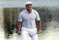 Bryson DeChambeau celebrates after sinking a putt to win the Arnold Palmer Invitational golf tournament Sunday, March 7, 2021, in Orlando, Fla. (AP Photo/John Raoux)