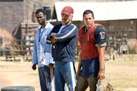 <p>Reynolds returned for the 2005 remake of his hit alongside Adam Sandler and Chris Rock. While Sandler took on the role of Paul Crewe, Reynolds played the inmates' coach, Nate Scarborough. (Photo: Paramount/courtesy Everett Collection) </p>