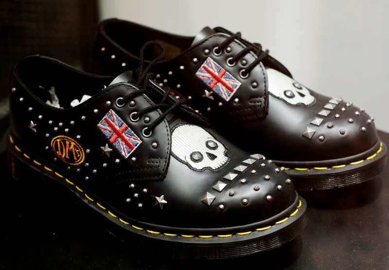 FILE PHOTO: FILE PHOTO: A pair of Dr. Martens shoes adorned with the Union Jack is displayed at a shop in Singapore