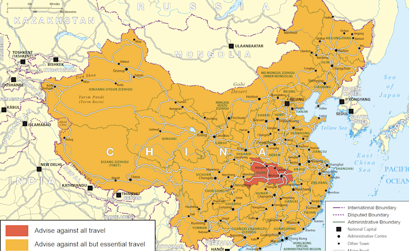 Danger zone: the advice against all but essential travel applies to all of mainland China, with a warning against all travel to Hubei Province: Foreign Office