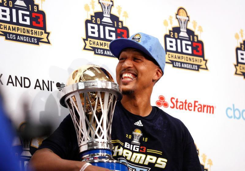 Jamario Moon #8 of the Triplets attends the press conference holding the trophy after his team defeated the Killer 3s to win the BIG3 Championship at Staples Center on September 01, 2019 in Los Angeles, California.