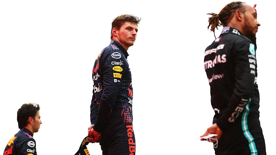 Max Verstappen, pictured here on the podium with Sergio Perez and Lewis Hamilton.
