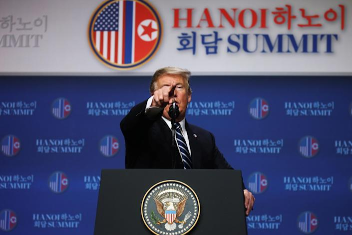President Trump holds a news conference after his summit with North Korean leader Kim Jong Un in Hanoi, Vietnam, on Feb. 28. (Photo: Leah Millis/Reuters)