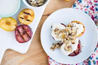 """<p>Peaches, plums, nectarines, and apricots all work well in this recipe. Just grill them and top with a decadent ginger-almond brittle.</p><p><strong><a href=""""https://thepioneerwoman.com/food-and-friends/grilling-fruit-101/"""" rel=""""nofollow noopener"""" target=""""_blank"""" data-ylk=""""slk:Get the recipe."""" class=""""link rapid-noclick-resp"""">Get the recipe.</a></strong></p><p><a class=""""link rapid-noclick-resp"""" href=""""https://go.redirectingat.com?id=74968X1596630&url=https%3A%2F%2Fwww.walmart.com%2Fip%2FThe-Pioneer-Woman-Timeless-Pre-Seasoned-Plus-10-25-Cast-Iron-Grill-Pan%2F137034757&sref=https%3A%2F%2Fwww.thepioneerwoman.com%2Ffood-cooking%2Fmeals-menus%2Fg32188535%2Fbest-grilling-recipes%2F"""" rel=""""nofollow noopener"""" target=""""_blank"""" data-ylk=""""slk:SHOP PRE-SEASONED GRILL PANS"""">SHOP PRE-SEASONED GRILL PANS</a></p>"""