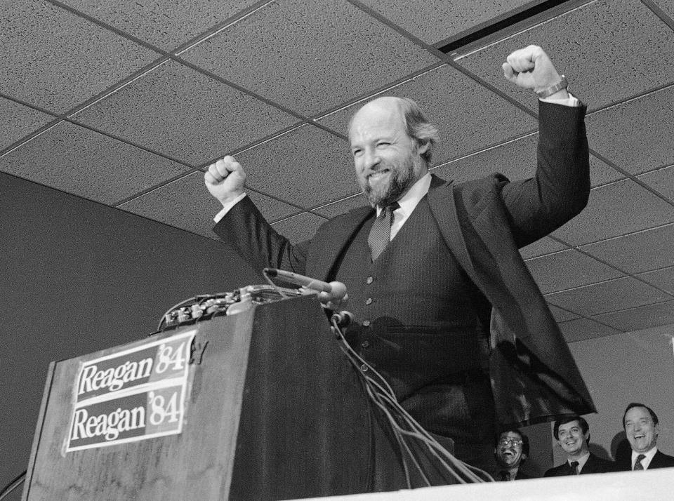 Ed Rollins, whom Baker effectively pushed out of the White House by making him Reagan's reelection campaign manager, speaks to the press at a newly opened campaign headquarters in October 1983.