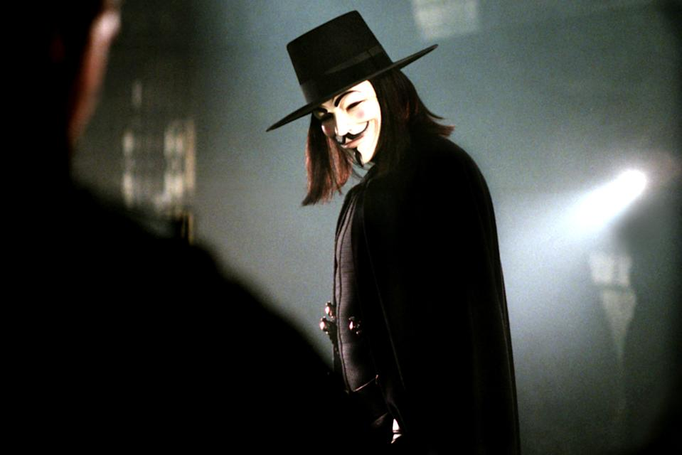 Hugo Weaving as the title character of the 2006 comic book blockbuster, 'V for Vendetta' (Photo: Warner Brothers/courtesy Everett Collection)