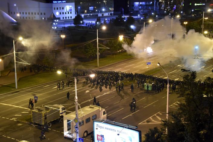 Image: Police block a square during a mass protest following the presidential election in Minsk, Belarus (AP)