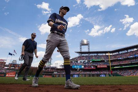 FILE PHOTO: May 16, 2019; Philadelphia, PA, USA; Milwaukee Brewers right fielder Christian Yelich (22) walks to the dugout prior to the game against the Philadelphia Phillies at Citizens Bank Park. Mandatory Credit: Bill Streicher-USA TODAY Sports