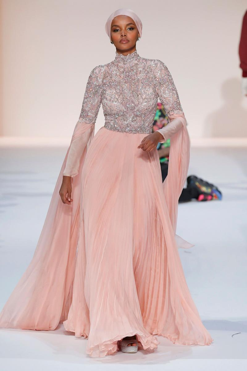 Halima walking at New York Fashion Week earlier this year. Photo: Getty