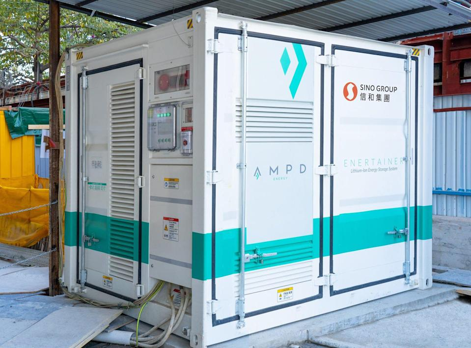 Sino Group is using AMPD Energy's Enertainer power storage system at its Yuen Long construction site. Photo: Handout