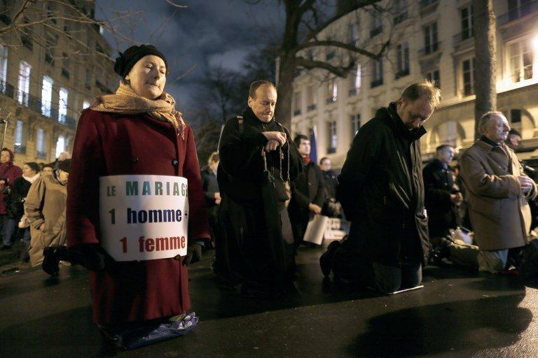 Members of Christian group Civitas Institute protest in Paris last week against same-sex marriage. Massive demonstrations across the country, many of which were mobilised by the Roman Catholic Church, have underlined that those who oppose gay marriage feel strongly about the issue