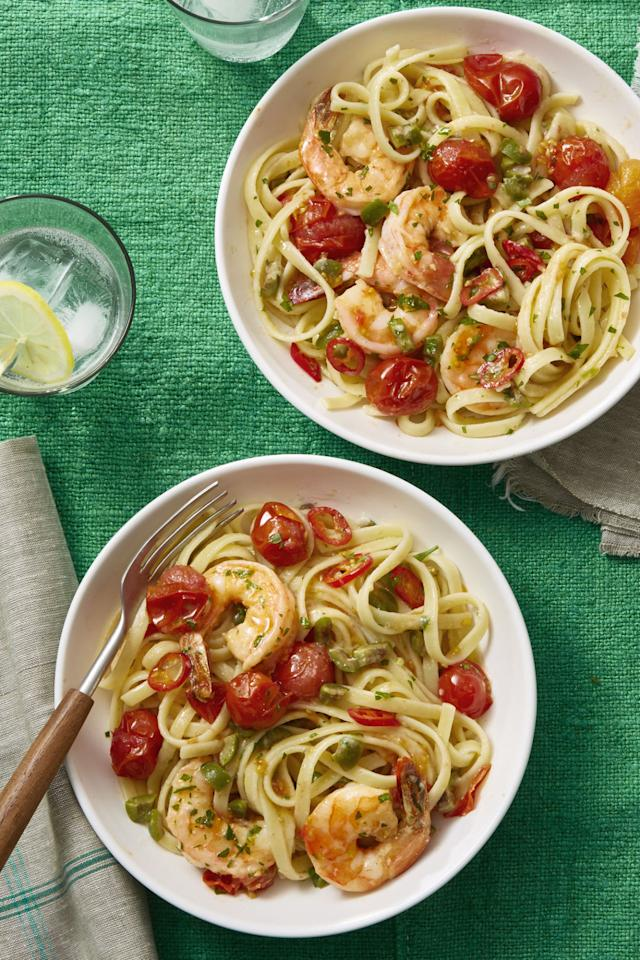 """<p>This light, shrimp pasta is perfect for the hot summer months (or practically all year long). </p><p><a rel=""""nofollow"""" href=""""http://www.womansday.com/food-recipes/food-drinks/recipes/a60706/shrimp-puttanesca-recipe/""""></a><strong><a rel=""""nofollow"""" href=""""http://www.womansday.com/food-recipes/food-drinks/recipes/a60706/shrimp-puttanesca-recipe/"""">Get the recipe.</a></strong></p>"""