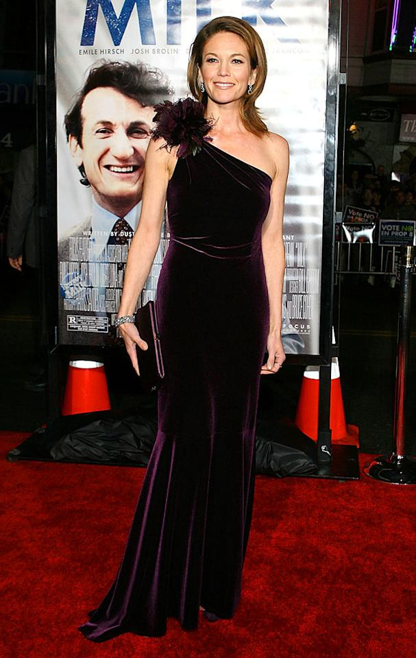 "Diane Lane looked absolutely delicious in this velvet eggplant gown upon arriving at the ""Milk"" premiere in San Francisco. Albert Chau/<a href=""http://www.filmmagic.com/"" target=""new"">FilmMagic.com</a> - October 28, 2008"