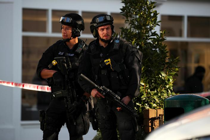 <p>Armed policemen stand by cordon near Parsons Green tube station in London, Britain, Sept. 15, 2017. (Photo: Hannah McKay/Reuters) </p>