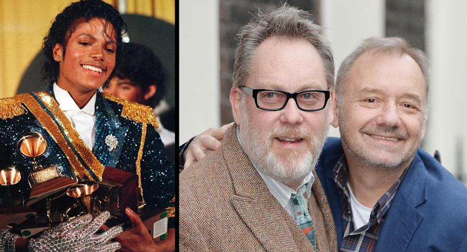 Michael Jackson with his signature rhinestone glove in 1984, and Vic Reeves and Bob Mortimer pictured in 2016 (AP/PA)
