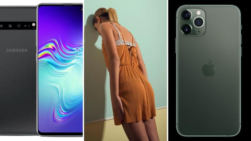 A Samsung Galaxy S10 on the left, a woman banging her head on a wall in the centre, and a iPhone 11 Pro on the right.