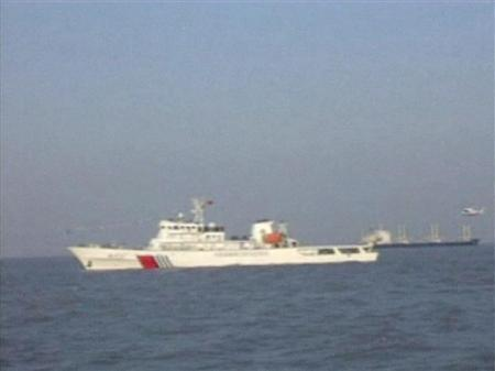 "Still image of a helicopter approaching to land on patrol vessel ""Haixun 21"""