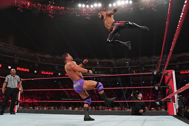 "WWE star Ricochet performs during an episode of ""Monday Night Raw."" (Photo courtesy of WWE)"
