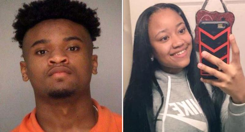 Pictured is a mugshot of Kevon Watkins and (right) his sister Alexus seen taking a selfie. Watkins choked his sister, killing her in 2018 during an argument over the house Wi-Fi password. Both were teens at the time.