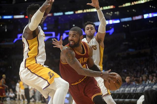 Kyrie Irving a inscrit 46 points/Photo prise le 20 mars 2017/REUTERS/� USA Today Sports / Reuters