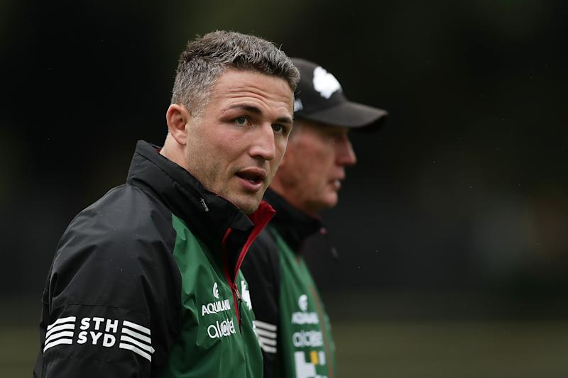 Sam Burgess (pictured front) walking during South Sydney training.