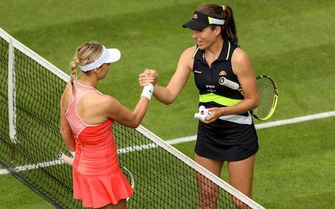 Great Britain's Johanna Konta is congratulated by Estonia's Anett Kontaveit after their match during day three of the Nature Valley Classic at Edgbaston Priory Club, Birmingham. PRESS ASSOCIATION Photo. Picture date: Monday June 17, 2019. Photo credit should read: Paul Harding/PA Wire - Credit: PA