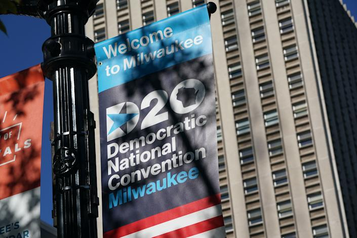A sign outside Wisconsin Center, home to the 2020 Democratic National Convention in Milwaukee.