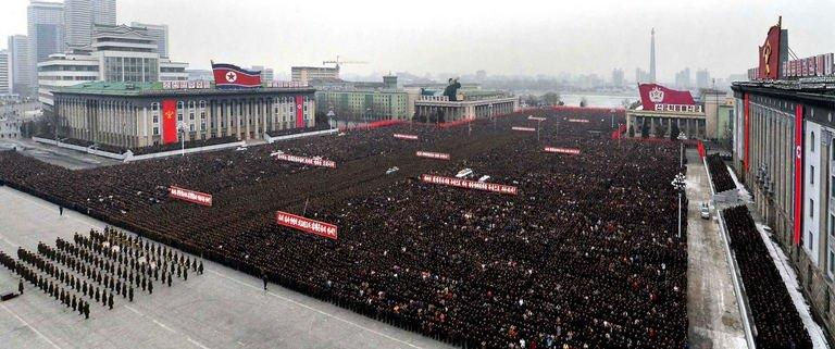 "This picture, taken by North Korea's official Korean Central News Agency on February 14, 2013, shows more than 100,000 troops and civilians staging a mass rally in Pyongyang to celebrate North Korea's nuclear test and praise the ""matchless"" bravery of leader Kim Jong-Un"