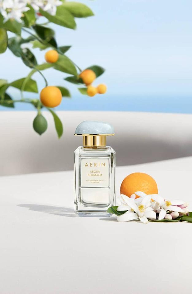 """<p>We're obsessed with all things Aerin, and its latest fragrance is no exception. Spritz on this <a rel=""""nofollow"""" href=""""https://www.popsugar.com/buy/Aerin%20Aegea%20Blossom%20Eau%20de%20Parfum-424751?p_name=Aerin%20Aegea%20Blossom%20Eau%20de%20Parfum&retailer=shop.nordstrom.com&price=125&evar1=bella%3Aus&evar9=45940184&evar98=https%3A%2F%2Fwww.popsugar.com%2Fbeauty%2Fphoto-gallery%2F45940184%2Fimage%2F45940191%2FAerin-Aegea-Blossom-Eau-de-Parfum&list1=shopping%2Cperfume%2Cbeauty%20products%2Cspring%2Cspring%20beauty%2Cfragrance&prop13=api&pdata=1"""" rel=""""nofollow"""">Aerin Aegea Blossom Eau de Parfum</a> ($125), and feel like you're floating on the Mediterranean.</p>"""