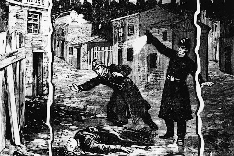 An illustration showing the police discovering the body of one of Jack the Ripper's victims: Getty Images
