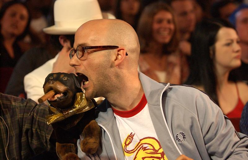 Triumph, the Insult Comic Dog, and Moby perform at the 2002 MTV Video Music Awards (Photo by KMazur/WireImage)