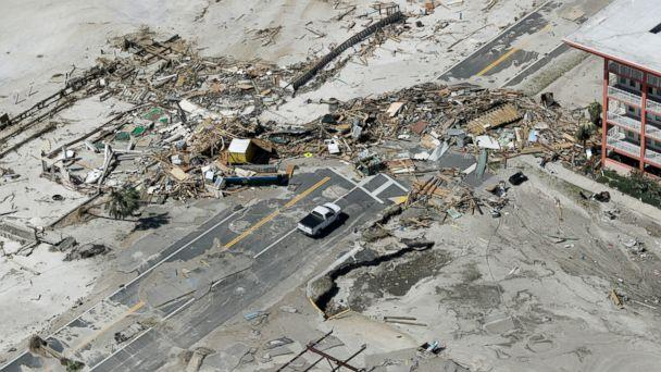 PHOTO: Debris from homes destroyed by Hurricane Michael block a road on Oct. 11, 2018, in Mexico Beach, Fla.  (Chris O'Meara/AP)